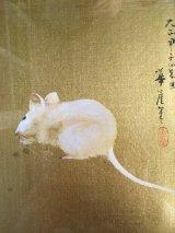 日本画 河野華崖 色紙 鼠